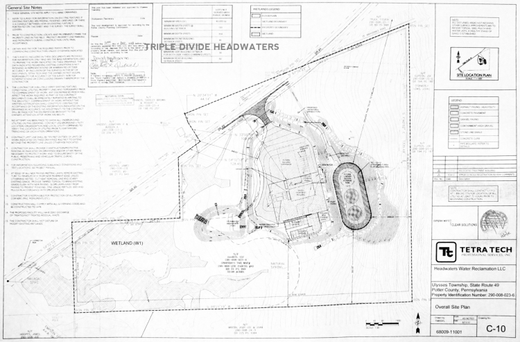 Pictured is a blueprint of the frack waste treatment plant scheduled for Ulysses Township, PA., at the headwaters of the Genesee River near Ludington Run.