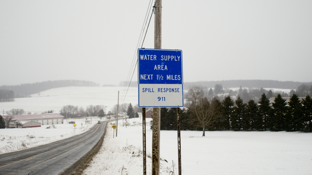 A fracking waste facility has recently been permitted by DEP to be constructed one mile south of this sign. © J.B.Pribanic