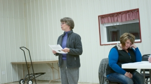 Mary Ann Heston reads a statement from Triple Divide Caretakers opposing the construction of the Headwaters, LLC fracking waste treatment facility. © J.B.Pribanic