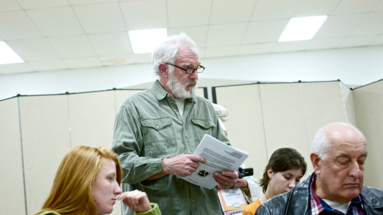 Les Rolfe of Save Our Streams PA, and also a Triple Divide Caretaker, asking questions about a fracking waste facility scheduled to be constructed at the Genesee River headwaters. © J.B.Pribanic