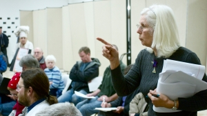 New York resident demanding answers from RevH20 about the Headwaters, LLC fracking waste facility. © J.B.Pribanic
